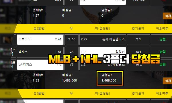 카도간 먹튀 MLB + NHL 3폴 승부