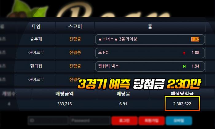 빈 먹튀 3경기 예측 당첨금 230만