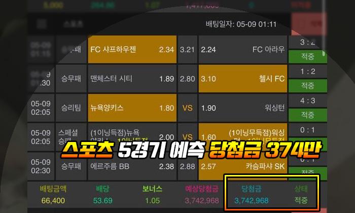 열매 먹튀 스포츠 5경기 예측 당첨금 374만