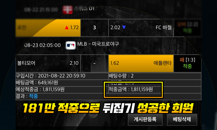 캐치볼 먹튀 181만 적중으로 뒤집기 성공한 회원
